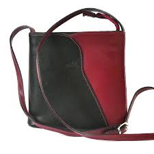 black red italian leather shoulder cross bag