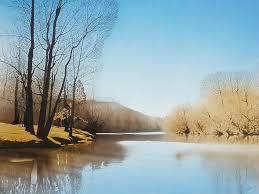 landscape painting dan river lake by lee farley