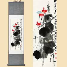 home chinese silk qi baishi watercolor flower ink morning glory feng s art wall picture damask