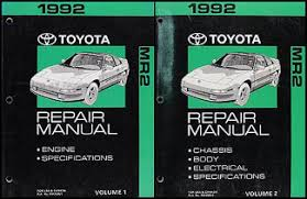 1992 toyota mr2 wiring diagram manual original 1992 toyota mr2 repair shop manual original 2 volume set 129 00