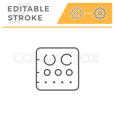Eye Chart Line Icon Isolated On White Stock Vector