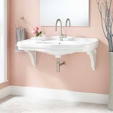 42 peloso porcelain wall mount bathroom sink with porcelain brackets