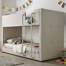 kids bunk bed. Happy Beds Saturn Fabric Kids Bunk Bed - Oatmeal 3ft Single K
