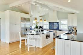 White Stained Wood Kitchen Cabinets Interior Dining Room Kitchen Rustic Chandeliers And Blue