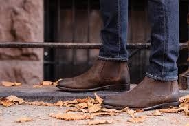 Short stacked heel heel height: Men S Dark Brown Suede Cavalier Chelsea Boot Thursday Boot Company