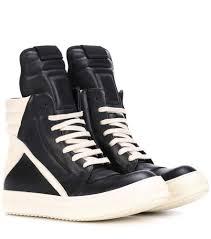 rick owens black milk sneakers womens s rick owens geobasket leather high top sneakers larger image