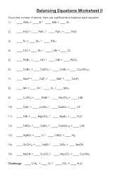 balancing equations practice worksheet answers chemical quiz