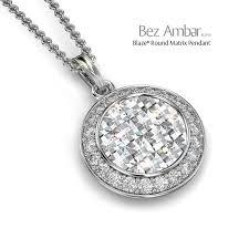 round cer diamond pendant blaze pave matrix