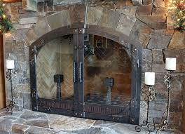 custom glass fireplace doors. hand forged fireplace doors by blacksmiths at ponderosa forge custom glass h