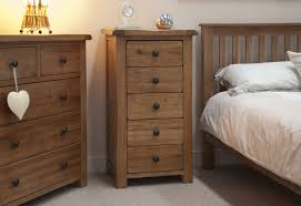 Solid Wooden Bedroom Furniture Rustic Oak 5 Drawer Narrow Chest Default Store View Furniture