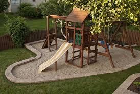 backyard playset landscaping diy swingset ideas kids playset ideas