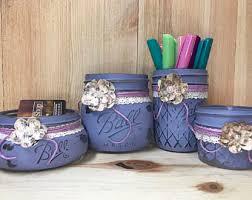 shabby chic office decor. lavender 4pc mason jar desk organizer office decor rustic shabby chic t