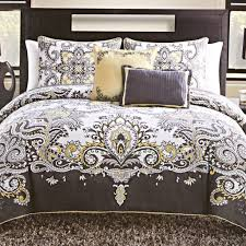 bedroom 5 piece istanbul gray and yellow queen bedding set photo navy blue and