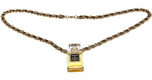 lyst chanel black leather gold woven chain perfume bottle pendant necklace in black