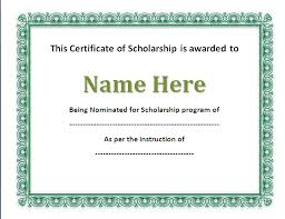 Scholarship Certificate Template For Word Scholarship Certificates Templates Free Major Magdalene