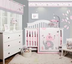 6 piece pink grey elephant baby girl