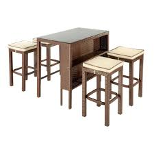 5 Piece Bar Table Set Delmar Resin Wicker Outdoor Bar Set 5 Piece Christmas Tree