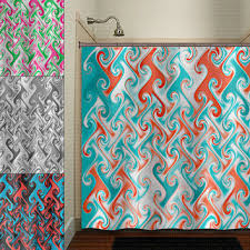metallic style aqua blue red c chevron shower curtain bathro