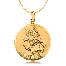 st christopher necklace 9ct gold personalised antique finish 20mm diameter