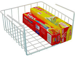 Plastic Coated Wire Racks Amazon DecoBros Under Shelf Basket Wrap Rack White Cabinet 94