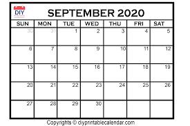 2020 Photo Calendar Template September 2020 Printable Calendar Template