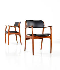 wood leather dining chairs specially erik buck model od 49 teak dining chairs by o d ma