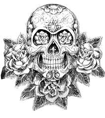 Small Picture Tatouage skull skeleton Tattoos Coloring pages for adults