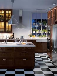 affordable kitchen furniture. IKEA_Wood-Cabinets-Checkered-Floor-Kitchen_s3x4 Affordable Kitchen Furniture L