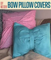 diy no sew bow pillow covers two ways