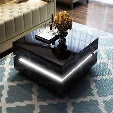 black high gloss coffee table storage