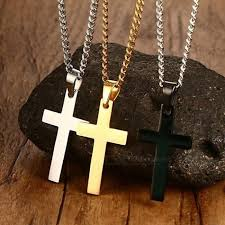 classic mens cross pendant necklace 24 stainless steel link chain necklace statement jewelry black silver