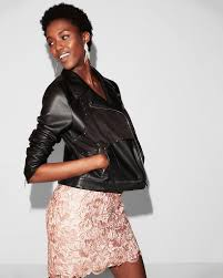 express faux suede front leather jacket