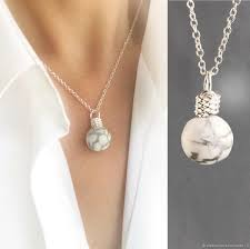 necklaces beads handmade livemaster handmade the marble stone pendant on a