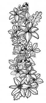 тату птица и цветок рука рисунок эскиз вектор премиум скачать