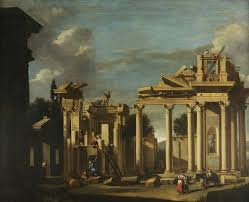 the building of a classical temple in a landscape