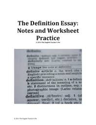 Definitive Essay Definition Essay Notes And Activities By The English Teachers Pet