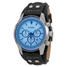 fossil ch2564 men s sport cuff chronograph blue dial black genuine leather