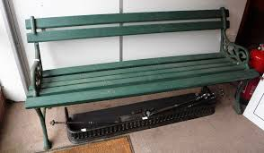 a victorian cast iron garden bench with wooden slats painted green 66 long some older restoration