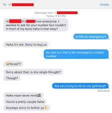 my girlfriend signs up for a promotional deal some guy and he my girlfriend signs up for a promotional deal some guy and he decides to take her phone number from the application too bad it was the emergency
