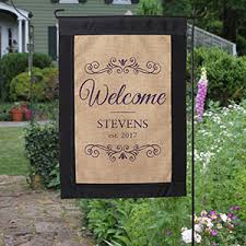 burlap garden flag. Personalized Welcome Burlap Garden Flag - 17016 N