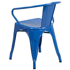 blue metal indoor outdoor chair with arms
