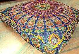 floor seating indian. Krati Exports Mandala Blue Orange Floor Cushion Seating Indian Throw  PIllow Cover Decorative Large Square Floor Seating Indian A
