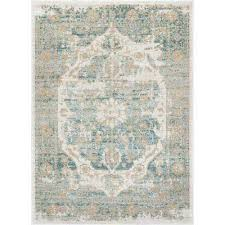 modern medallion antique vintage distressed blue area