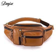 genuine leather waist bag for men fashion pack multi function belt bag men s leather money belt casual travel shoulder