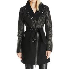 leather wool mixed media wool long coat