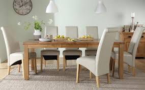 gallery highbury oak extending dining table with 6 boston ivory chairs