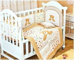 embroidery bear cotton baby bedding sets for crib pillow per nursery sheets
