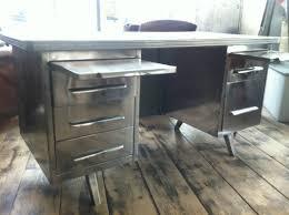 vintage steel furniture. Polished Steel 1950`s French Desk Vintage Industrial - Picture 1 Furniture