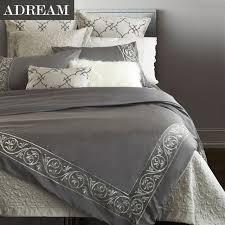adream 100 cotton 4pcs bedding set grey embroidered bedding european style duvet cover set home