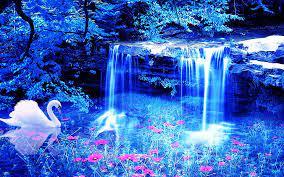 swan, Waterfall, Flowers, 3d Wallpapers ...